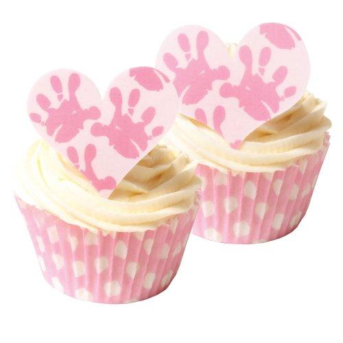 12 Baby Mädchen Hände, essbare Kuchendekoration & 12 pinkfarbene Pünktchen Muffinförmchen / 12 Baby Girl Hands Edible Cake Decorations & 12 baby pink polka dot muffin cases