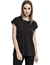 Urban Classics Damen T-Shirt Ladies Extended Shoulder Tee, Baumwollshirt mit Turn-up Ärmeln