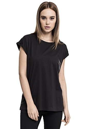 Urban Classics Damen T-Shirt Ladies Extended Shoulder Tee, Black, 3XL