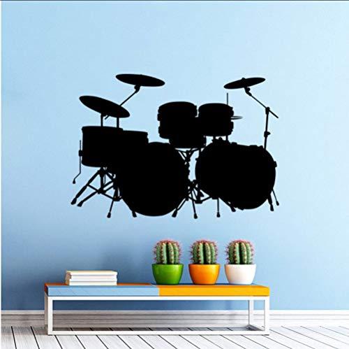 Wandaufkleber Vinyl Wandaufkleber Musik Drum Kit TrommelnRock Band Art Design Home Schlafzimmer Dekor Musik Trommel Wandkunstwand 82 * 56 Cm