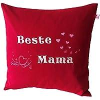 """TryPinky® Kissenbezug 40 X 40 cm """" Beste Mama Rot bestickt """" Herzen Pink Rosa Herz Muttertag Handmade Kissenhülle Geschenk 100 % Baumwolle BW"""