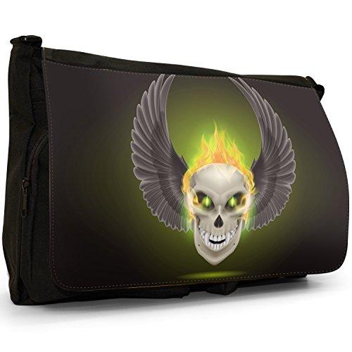 Flaming Fire, motivo: teschio, colore: nero, Borsa Messenger-Borsa a tracolla in tela, borsa per Laptop, scuola Nero (Yellow Flaming Fire Skulls)