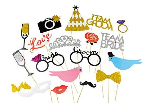Clever Creations Glitzer Mr. und Mrs. Hochzeits-Party-Dekoration, verschiedene Requisitenschilder mit glänzendem Finish, perfekte Fotokabine, Aesthetik, Größen variieren je Schild, 18 Stück