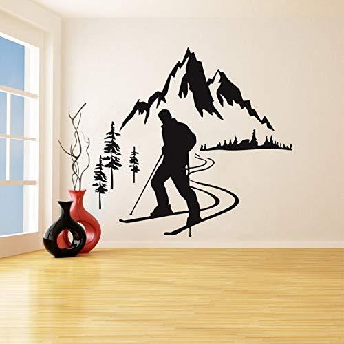 Ski alpin Vinyl Wandaufkleber Skifahrer Sport Abnehmbare Aufkleber Schlafzimmer Wohnzimmer Dekoration Kunst Postercm 78x72cm -