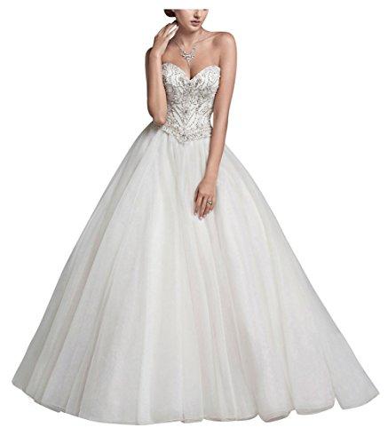 George bride a mano di perline abito da sposa linea tutu un organza di tulle, taglia 38, bianco