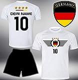 ElevenSports Deutschland Trikot Set 2018 mit Hose GRATIS Wunschname + Nummer im EM WM Weiss Typ #DE3th - Geschenke für Kinder Erw. Jungen Baby Fußball T-Shirt Bedrucken