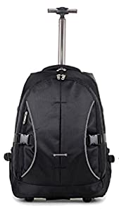 "High Quality EasyJet / Ryanair approved Wheeled Laptop Backpack cabin on board. Fits 15"" Laptop (18"", Black & Grey)"