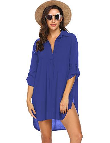 Unibelle Damen Strandkleid Kleidung Strand Hemdkleid V-Ausschnitt Rock Sommer Cuffed Sleeve Shirts Tops - Bademode Cover Up Rock Kleid