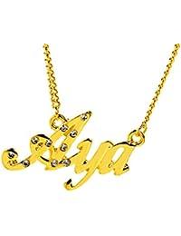 99e8670e0154 Kigu AYA Collar con Nombre - Chapado en Oro Personalizado de 18 Quilates -  Cadena Ajustable