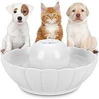 Hommii Fuente Bebedero Cerámico para Gato/Perro Mascotas Silencio 2.1L Dispensador de Agua Automático con Filtro Pet Water Fountain Drinking Bowl