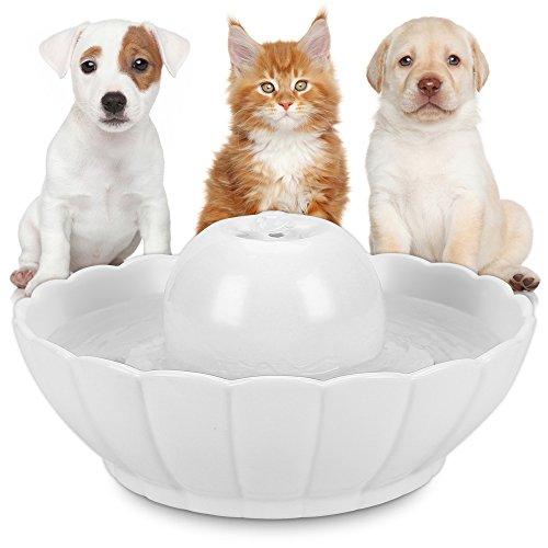 Hommii Trinkbrunnen Keramik für Katzen Hunde Haustier Automatisch Wasserbrunnen mit Kohlefilter 2,1L Lotus/Kugel Katzenbrunnen Wasserspender Brunnen Katze Keramik Filter Pet Fountain