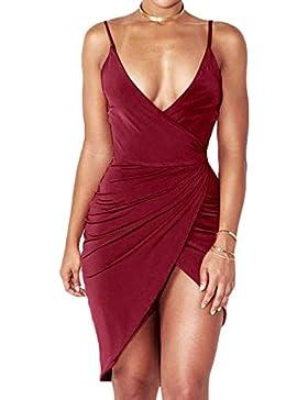 Verano de Vacaciones Partido Cóctel Fiesta Mujer Vestidos Moda Colores Lisos Irregular Corta Vestidos Atractivo...
