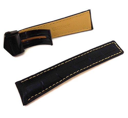 22/18mm orologio cinghie di cuoio nero/giallo a coccodrillo stile con cuciture gialle a Fit tag Heuer