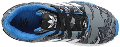 adidas Originals ZX Flux EL I Running Shoe (Toddler), Black/White/Solar Blue, 4 M US Toddler Black/White/Solar Blue