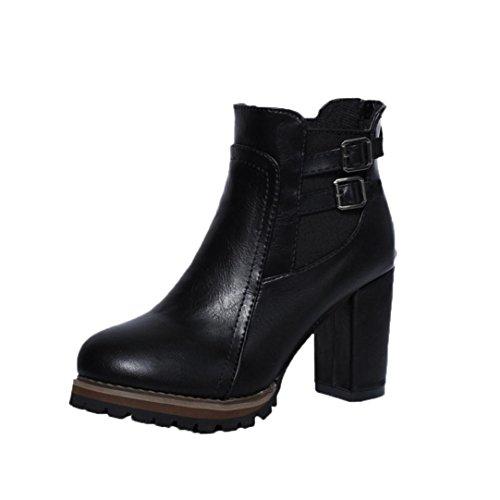Stiefeletten Damen Winter Btruely Frau Vintage Schuhe Mode Mädchen Dicke Stiefel Warme Schuhe Gürtelschnalle Martin Stiefel Plateauschuhe Damen Schuhe (39, Schwarz)