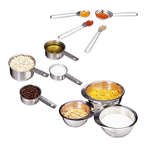 Relaxdays Küche 11er Mess-Set, Messbecher, Messlöffel, Rührschüssel, graviert, amerikanische Cups, Edelstahl, Silber, Standard (Rührschüssel Und Messbecher-set)