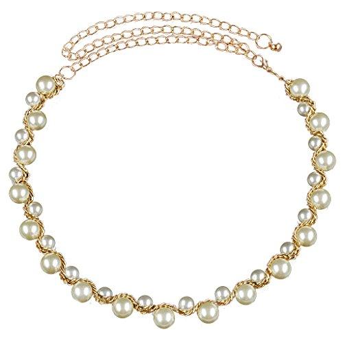 Hellery Frauen Perle Perlen Taille Kette Gürtel Schmuck Bund Für Damen Kleid - Taille Perlen