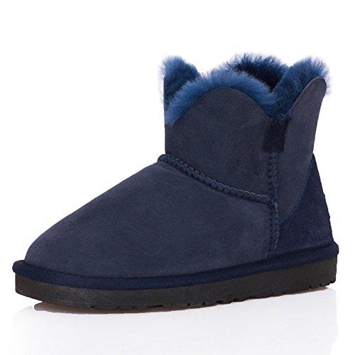 Qiangda Winter Snow Boots Antideslizante Good Elasticity Botines Para Mujer Low Sole Boots, 6 Pure Colors (color: Marrón Oscuro, Talla: Eu35 = Uk2.5) Azul Marino