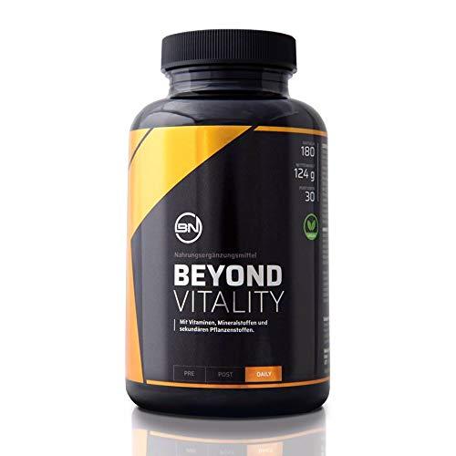 BEYOND VITALITY - 21 Antioxidantien, Superfood Pulver, Vitamine & Mineralstoffe für Zellschutz, Energie & Focus - Maca, Alpha-Liponsäure, Astaxanthin, OPC, Selen - 180 vegane Kapseln