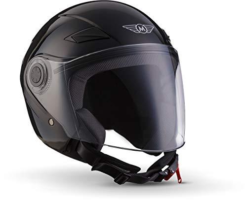 "MOTO Helmets® U52 \""Gloss Black\"" · Jet-Helm · Motorrad-Helm Roller-Helm Scooter-Helm Bobber Mofa-Helm Chopper Retro Cruiser Vintage Pilot Biker Helmet · ECE Visier Schnellverschluss Tasche XS (53-54cm)"