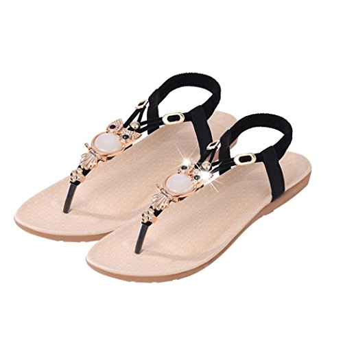 Beauty-luo sandali estivi donna sandali infradito donna sandalo estivi scarpe basse eleganti - donna strass gufo dolce sandali clip toe sandali scarpe da spiaggia (36, nero)