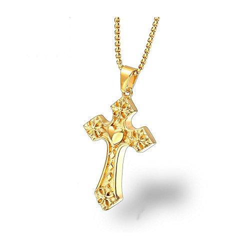 ANLW Damen Halskette - Goldene Liebe Herz Halskette Jesus Christus Titan Stahl Kreuz Anhänger Schlüsselbein Kette,Gold