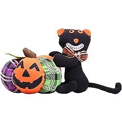 Yimosecoxiang Hermoso y Divertido Precio de Pescador Lindo de Halloween decoración Ropa Calabaza Gato Fantasma Peluche Juguete Fiesta Adorno Regalo, Tela, Black Cat
