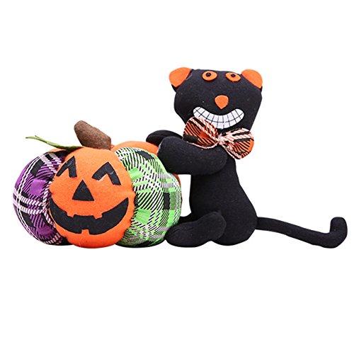 Yimosecoxiang Schöne und lustige Fisher Price Halloween-Dekoration Tuch Kürbis Katze Geist Plüsch Spielzeug Party Ornament Geschenk, Stoff, Black Cat