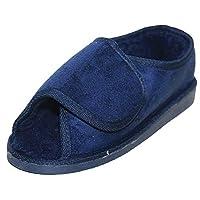 JWF Unisex Extra Wide Fit Fur Lined Open Toe Navy Blue Slippers Shoe, Blue, 12 UK