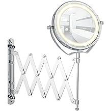WENKO 3656380100 Espejo mural con LED Brolo telescópico - espejo 300 %, reglable en altura,  ø 11.0cm, Acero, 18.5 x 38.5 x 45 cm, Cromo