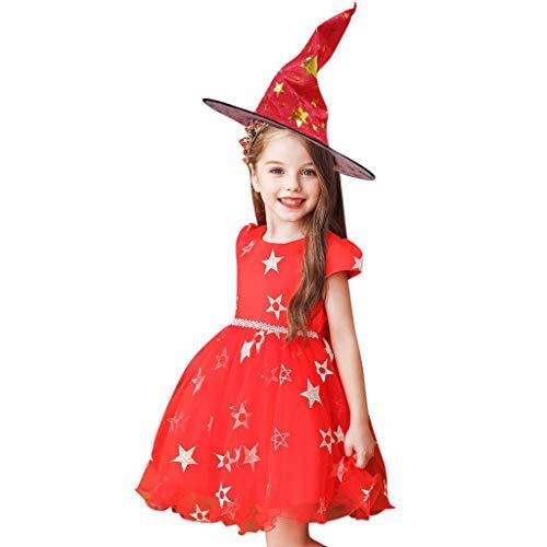 Kostüm Höhle Baby Mädchen - Romantic Kinder Baby Mädchen Halloween Kostüme Kurzarm Cosplay Kleid Prinzessin Kostüm Kleider mit Bowknot und Sternen, Hexe Hut 2er Set Fancy Dress Verkleiden Kostüme für Karneval Halloween