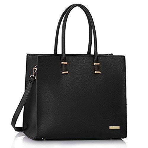 Damen Handtasche Schultertasche Tasche Large Umhängetasche Entwerfer Shopper Henkeltasche, Neu (Schwarz)