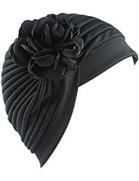 Y56 Gorro elástico de algodón con diseño de turbante para mujer ab780a39a9e