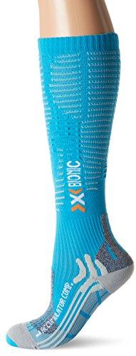 X-Socks Calzini funzione da adulto Accumulator Competition Lady, Unisex, Funktionssocken Accumulator Competition Lady, Turquoise/Pearl Grey