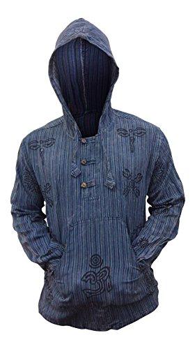 SHOPOHOLIC FASHION Herren Stonewashed Gestreift Mit kapuze Hippy Großvater Shirt Blau
