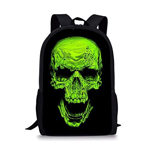 POLERO Cartoon-Schädel Kinder-Rucksack Vintage-Campus Schoolbag Nette Kinder Schulter Bookbag 3D Printed Rucksack Outdoor-Reisetaschen für Mädchen und Jungen -