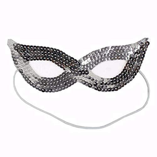 Schleier Wache Bildschirm Domino falsche Front Make-up Tanz Halloween Party Supplies Zeigen Maske Pailletten Maske Silber,1 ()