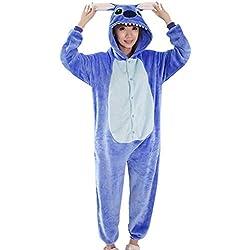 Y-BOA 1Pc Pyjama Combinaison Coton Femme Taille M Forme, Bleu, Taille M