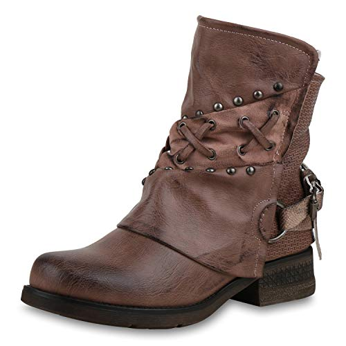 SCARPE VITA Damen Stiefeletten Biker Boots Nieten Leicht Gefütterte Schuhe 169132 Rosa Leicht Gefüttert 39