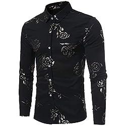 Camisas para Hombres,Dragon868 2019 Venta de liquidación Hombres Casual Rose Impreso BusinessTop Camisa(Negro,M)