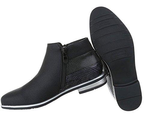 Damen Stiefeletten Schuhe Stiefel Chelsea Boots Schwarz Schwarz Gold Silber 36 37 38 39 40 41 Schwarz