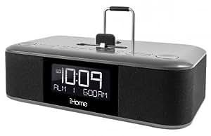 SDI iDL100E iHome Stereo Weckuhr mit FM-Radio (3-fach Ladestation, 2x Lightning, 1x USB) für Apple iPhone/iPad/iPod schwarz