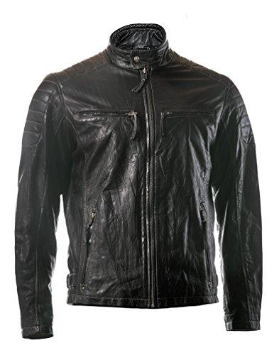 ROCK-IT Apparel®Herren Lederjacke Crash Lamm-Nappaleder Bikerjacke Echtleder Farbe Schwarz XL