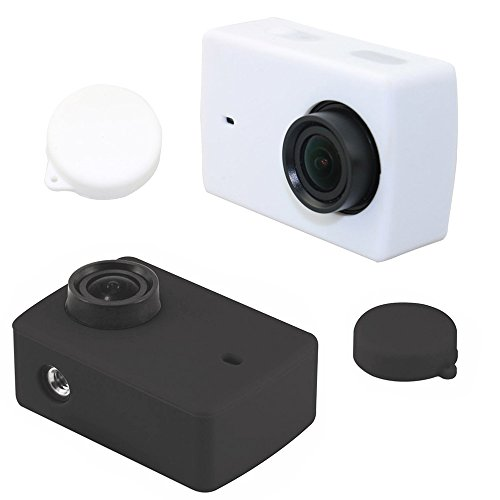 TEKCAM Silicone Protective Housing Case Lens Cap Cover for YI 4K Action Camera(Black and White) Lens Cap Cover