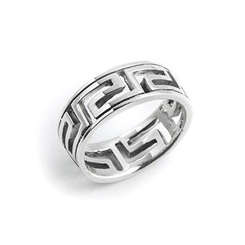 Silverly Frauen Männer .925 Sterling Silber Offen griechischen Schlüssel 7 mm Ring, Größe: 49 (15.6)