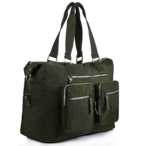 Oakarbo, Borsa tote donna blu 1212 Turquoise blue large 1212 Army green