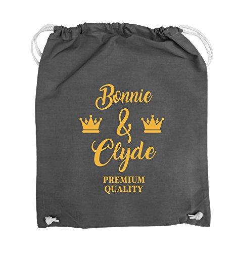 Comedy Bags - Bonnie & Clyde - PREMIUM MOTIV - Turnbeutel - 37x46cm - Farbe: Schwarz / Pink Dunkelgrau / Gelb