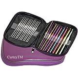 22 Mixed Aluminium & Steel Crochet Hooks Weaving Needle Set in Purple Case By Kurtzy TM