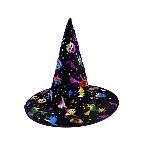 LYY.YY Frauen Zaubererhut Halloween Maskerade Kleidung Charmant Hexenhut Performance-Requisiten Für Erwachsene Bronzing Kappe(Vier Stücke)