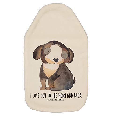 Mr. & Mrs. Panda gemütlich, Kuschelig, Wärmflasche Hund Entspannt mit Spruch - Farbe Weiß